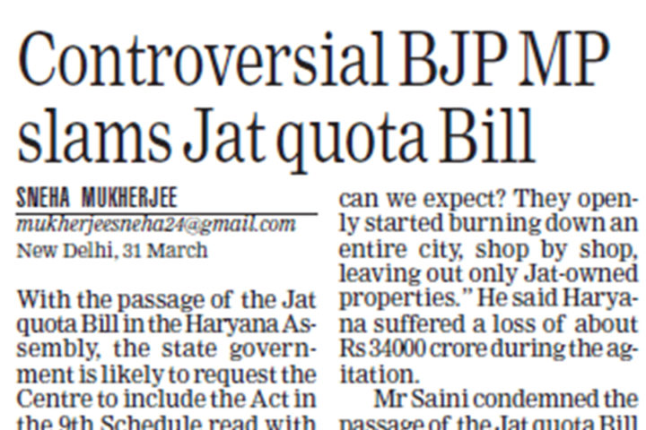 Controversial BJP MP slams Jat Quota Bill: 31 March, National Page/The Statesman