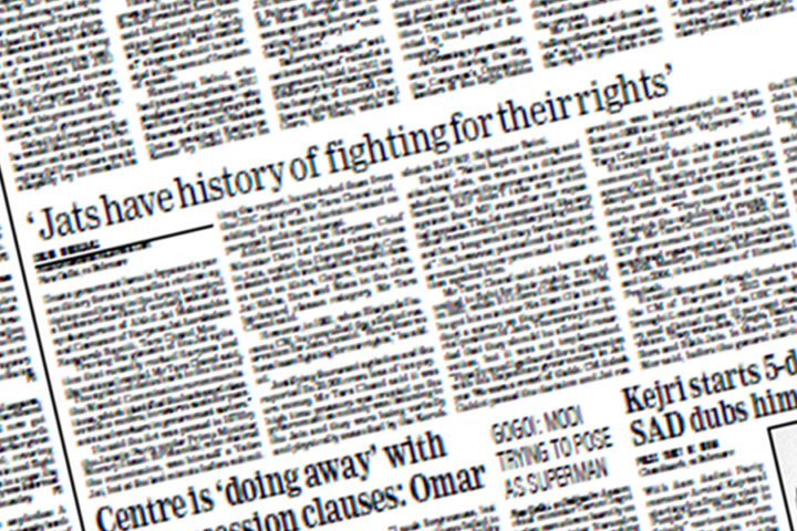 Jats have history of fighting for their rights: 25feb, National Page/The Statesman